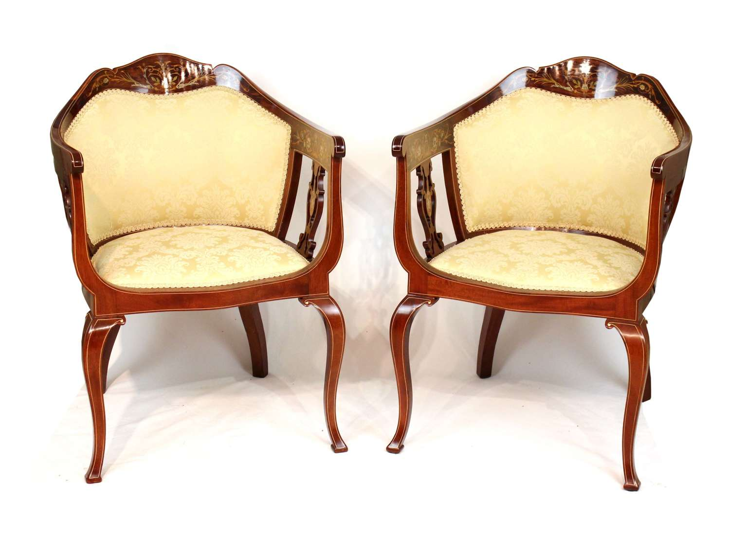 A Quality Pair of Late Victorian Mahogany Inlaid Tub Chairs