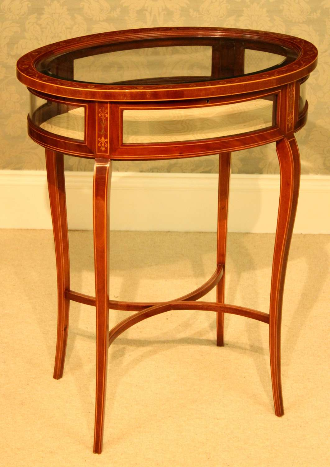 An Exceptional Edwardian Mahogany Inlaid Oval Bijouterie Table
