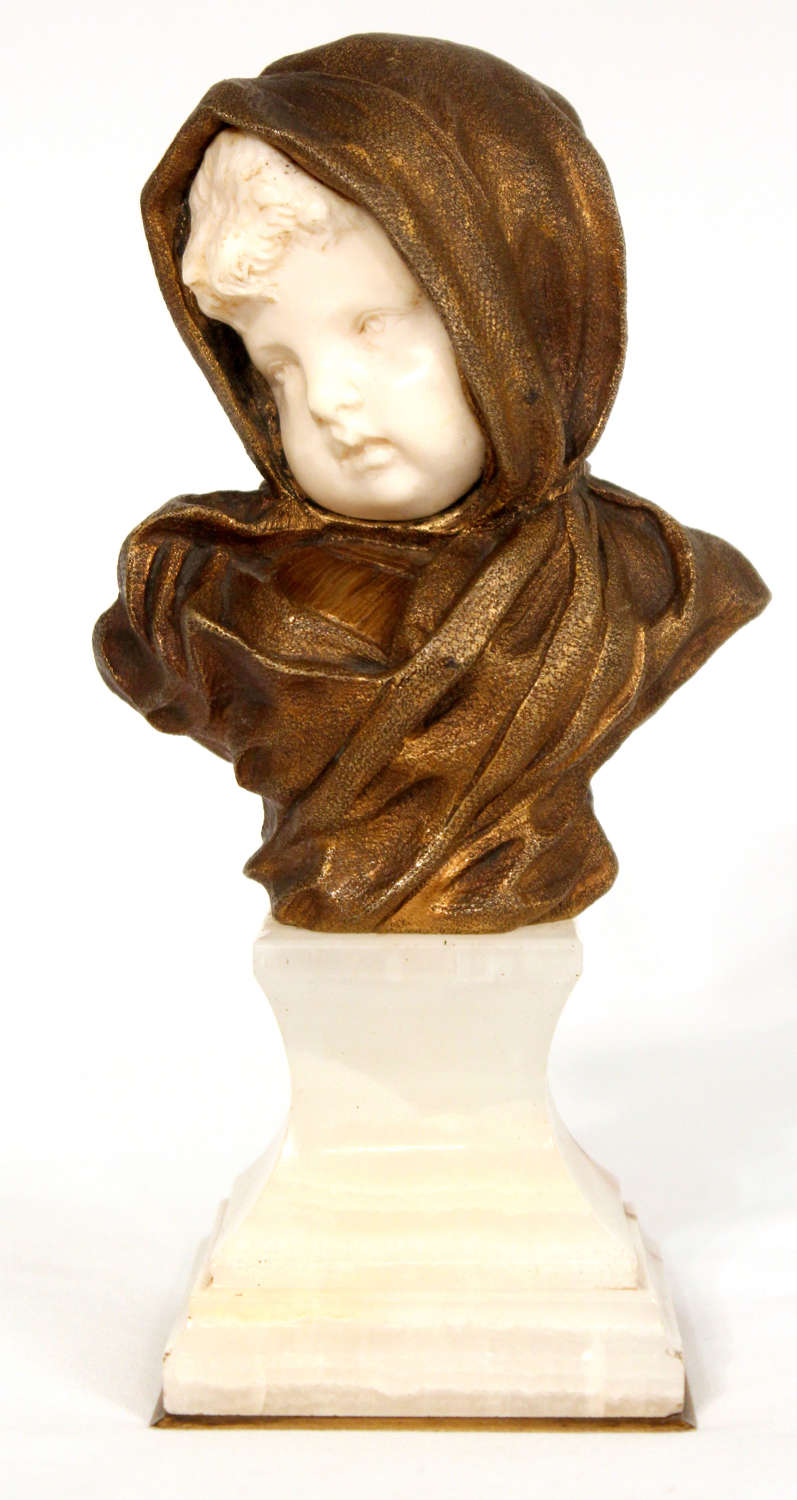 Dominique Alonzo Bronze and Ivory Baby Face On White Onyx Base