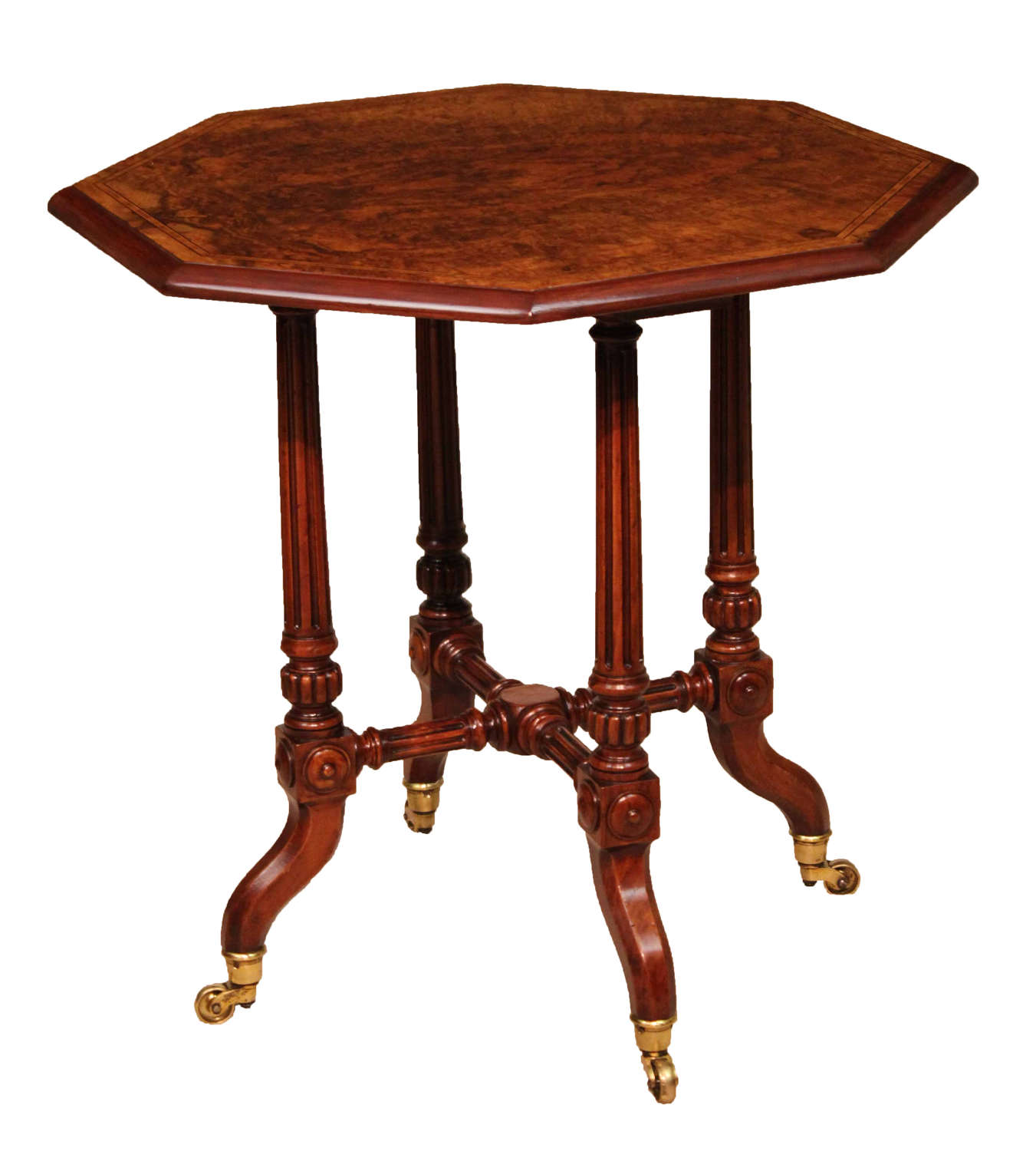 A Fine Quality Victorian Burr-Walnut Inlaid Octagonal Table