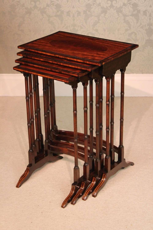 The Quality Late Victorian Mahogany Inlaid Quarteto Tables