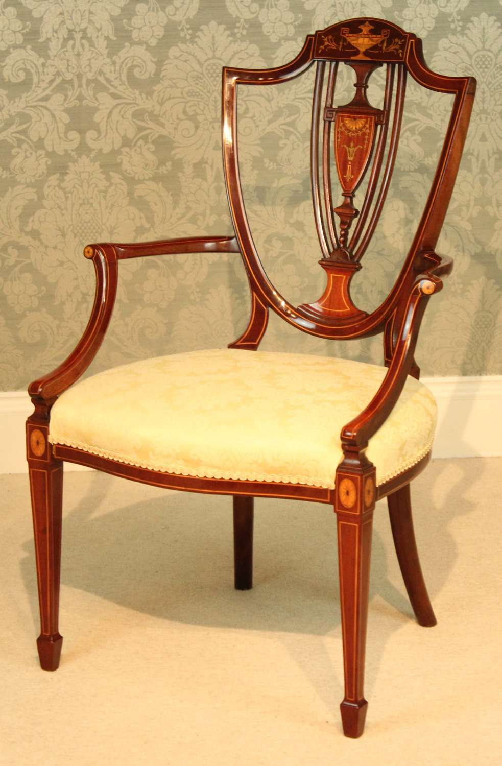 A Fine Late Victorian Mahogany Inlaid Shield Back Armchair