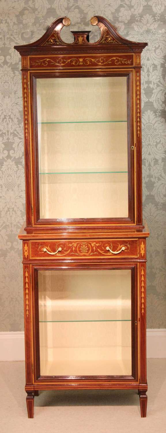 The Quality Late Victorian Mahogany Inlaid Display Cabinet