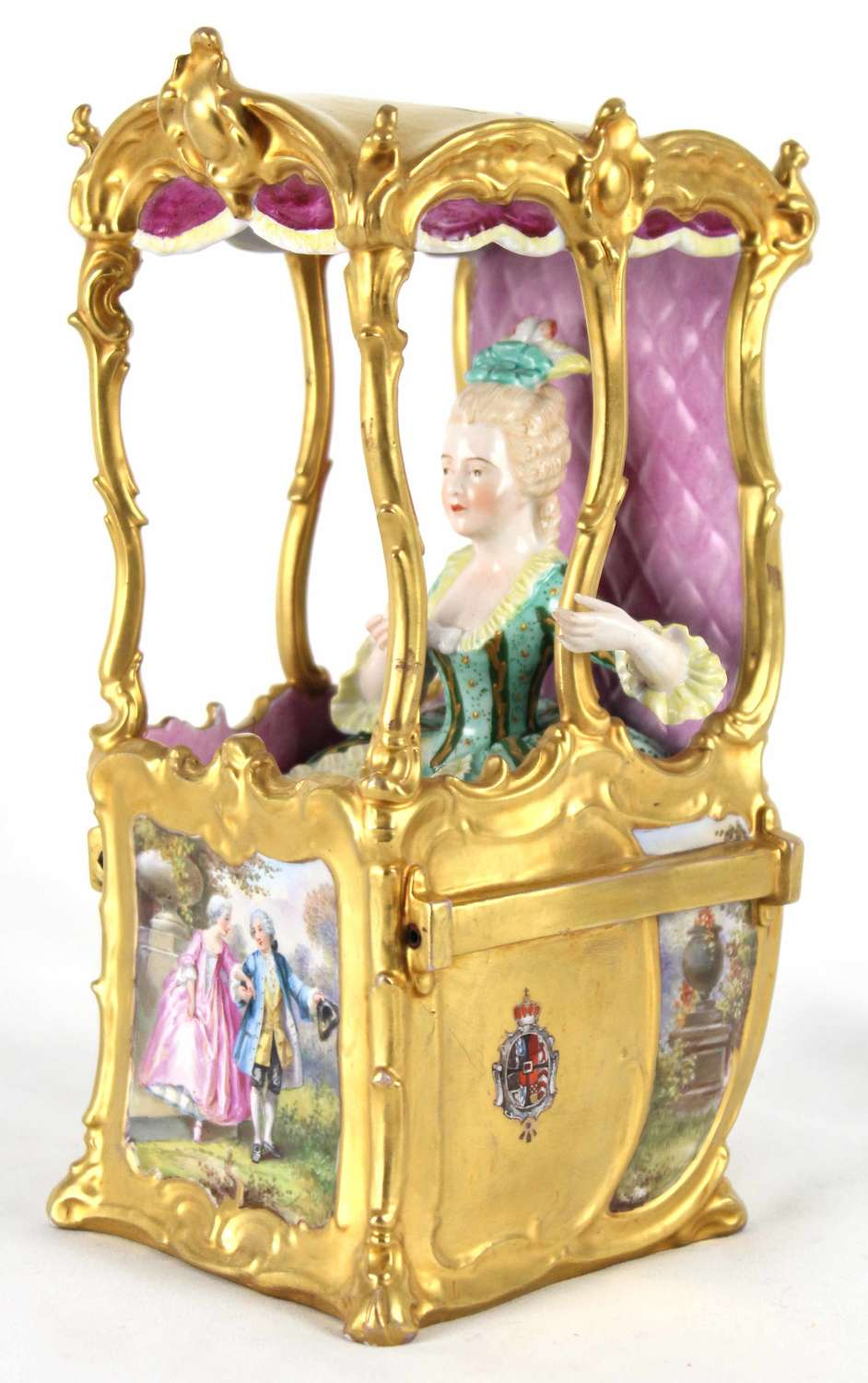 A Late 19th C. Continental Porcelain Sedan Chair Figure Group