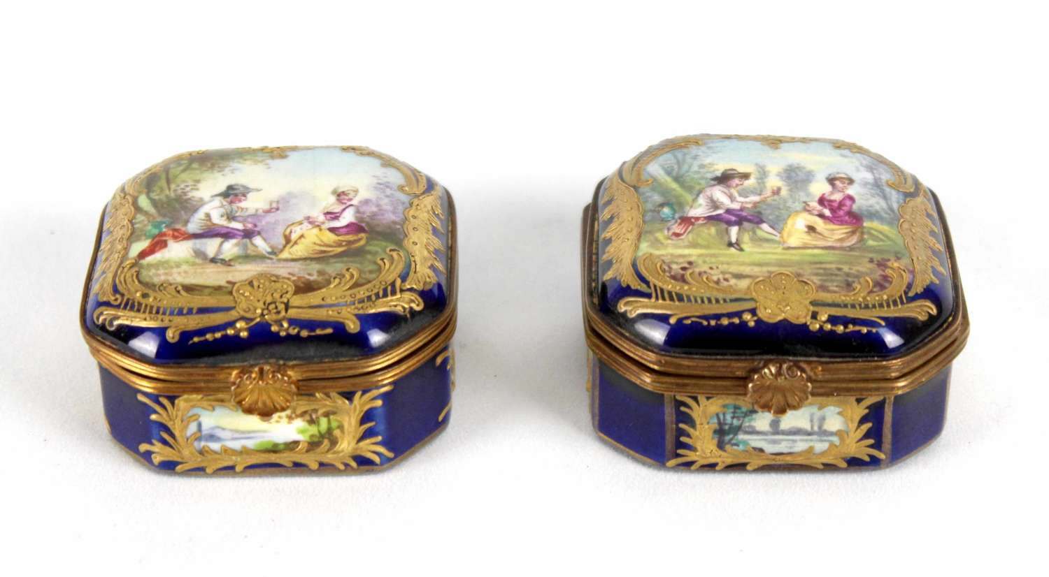 A Pair Of Late 19th C. Sevres Ceramic Canted Square Small Boxes