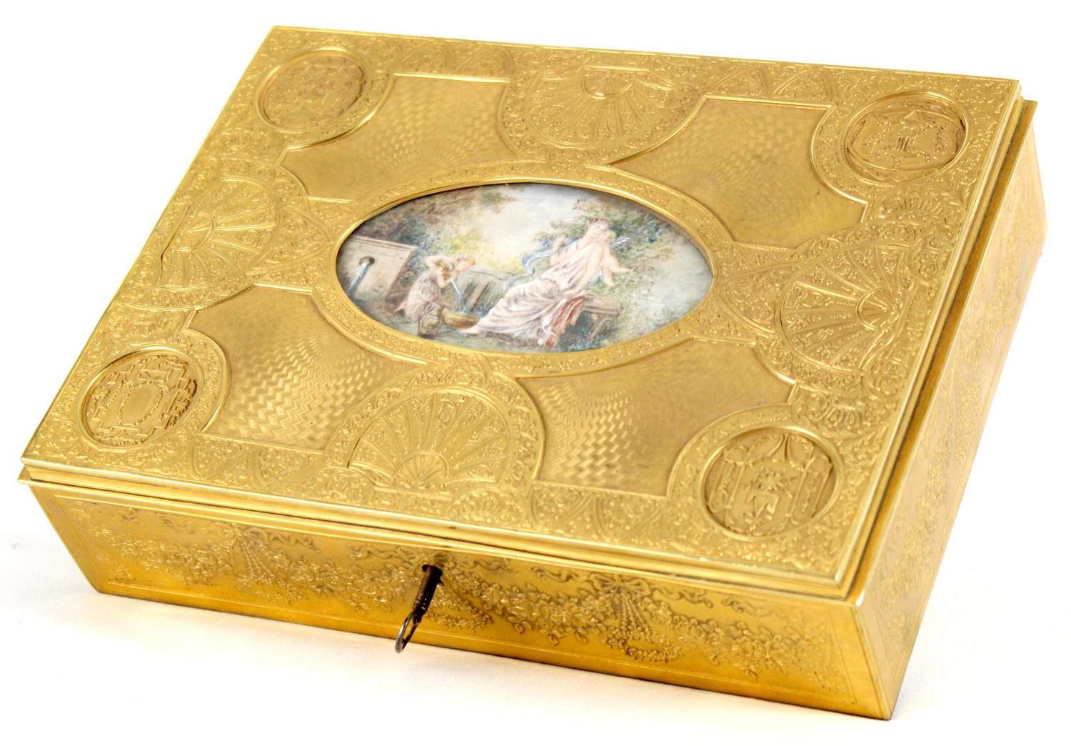 A Late 19th C. French, Engraved Gilt Metal Ladies Dressing Casket