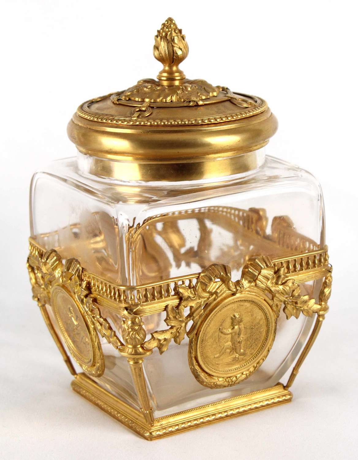 A Fine Late 19th C. French Ormolu Mounted Crystal Glass Box And Cover
