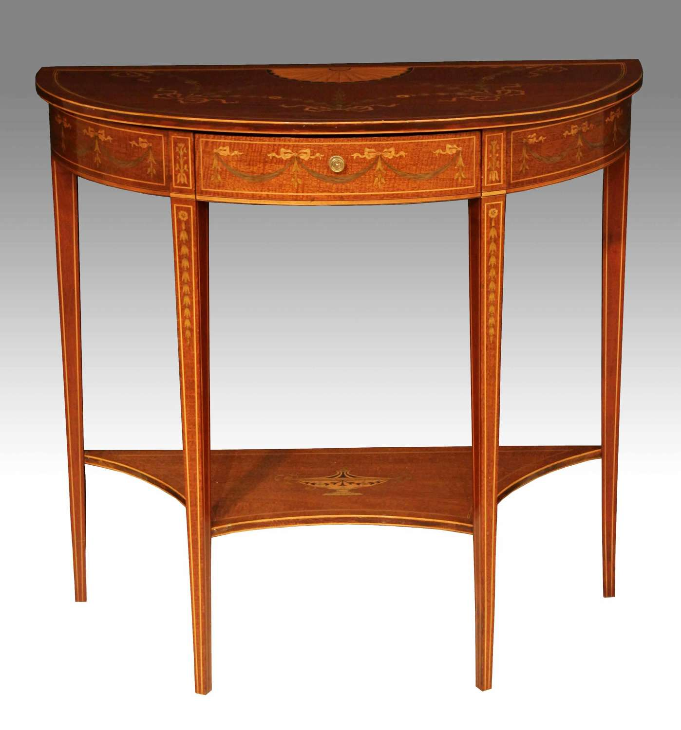 A Late Victorian Mahogany Inlaid Demilune Side Table