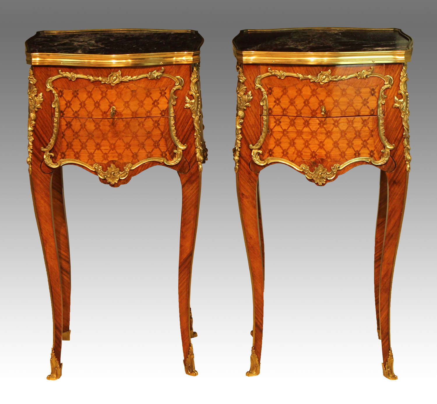 A Pair French Kingwood Inlaid & Ormolu mounted Bedside Tables