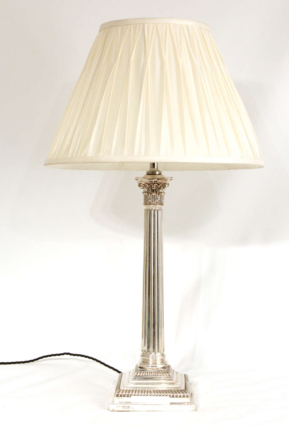 An Exceptional Edwardian Silver Table Lamp By Clark & Sewell