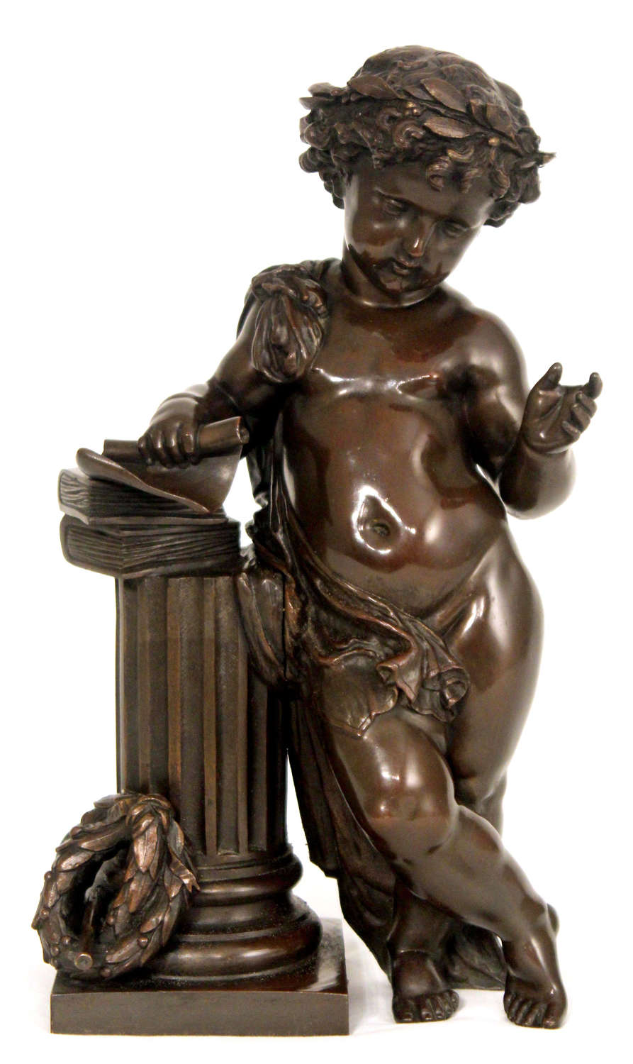 A Fine Late 19th Century French Bronze Cherub Leaning On Column