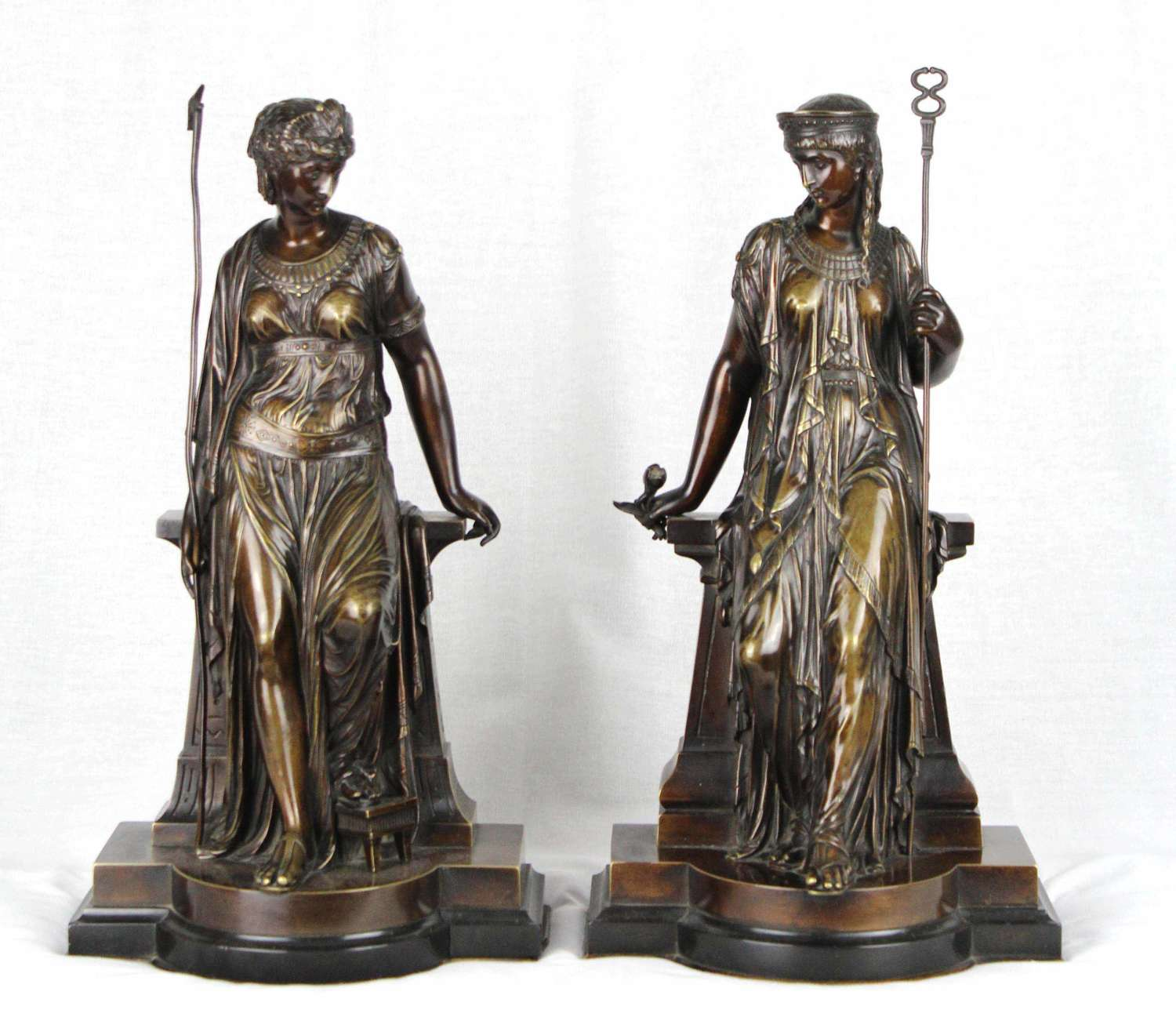 A 19th Century Egyptian style bronze maidens by Eutrope Bouret