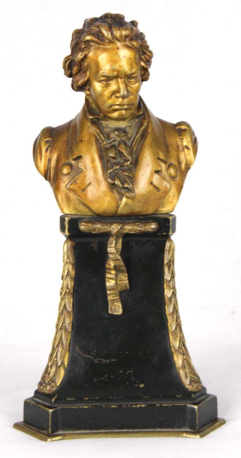 A 19th Century french bronze bust of Mozart by Eugen. Bormel