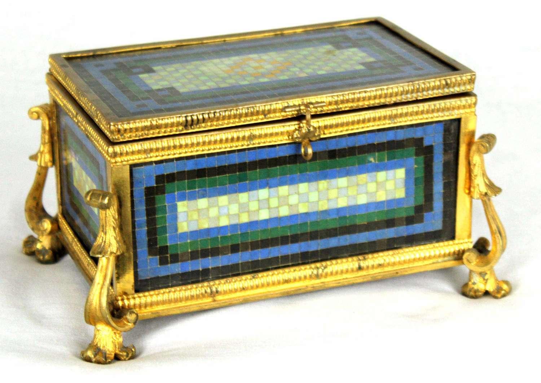 A Late 19th Century Italian Micro Mosaic and Ormolu box
