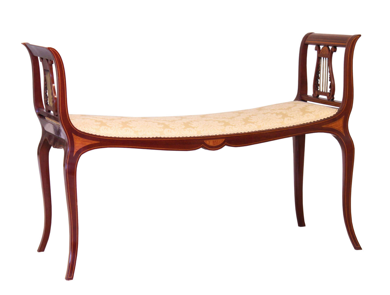 A Superb Edwardian Mahogany Inlaid Window Seat