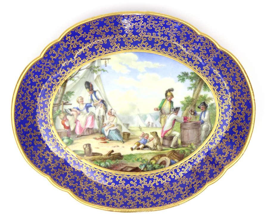 A 19th Century Sevres Style Porcelain Plaque of a Military Encampment