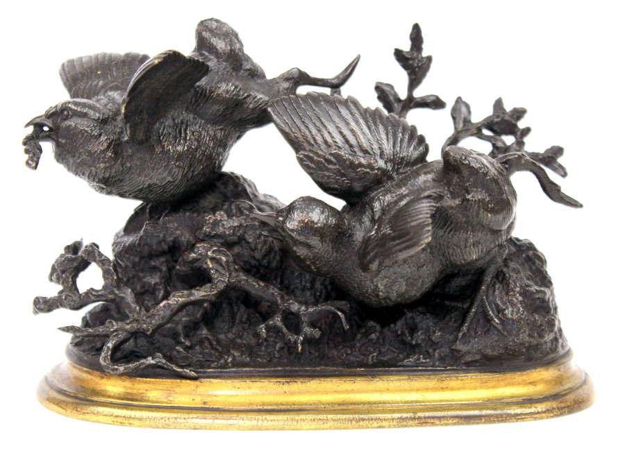 Ferdinand Pautrot (1832-1874) A 19th Century French Bronze Bird Group