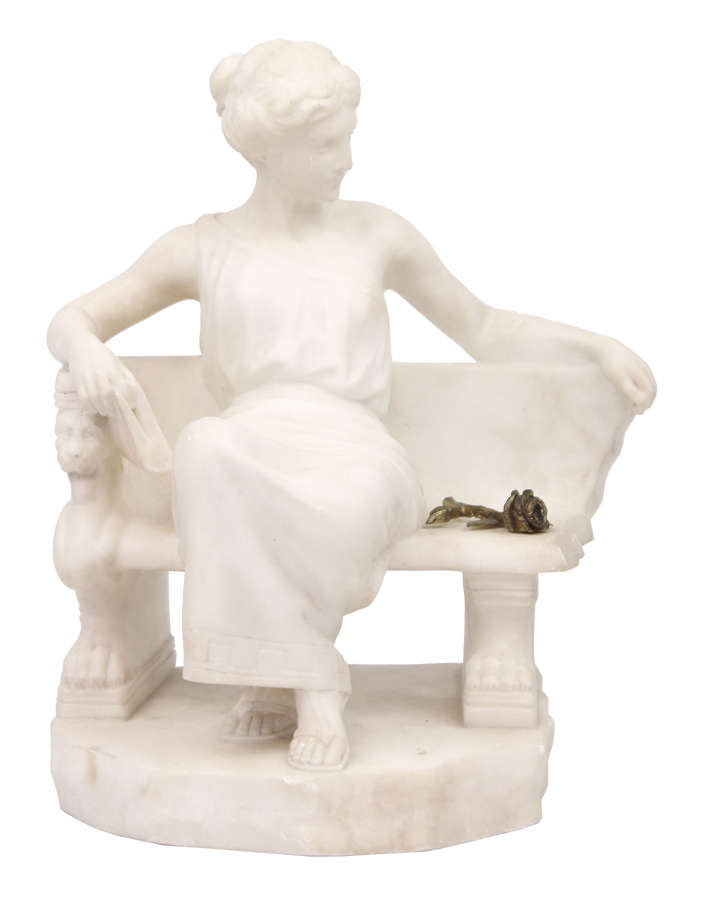 A 19th Century Marble sculpture modelled as a seated Maiden