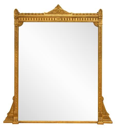 English Antique gilded overmantle  mirror
