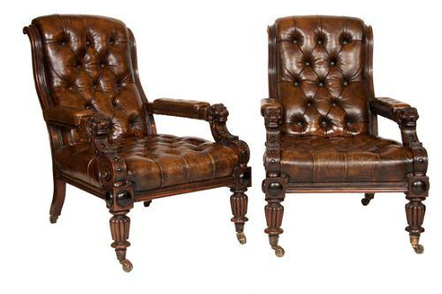 A pair of leather country house chairs
