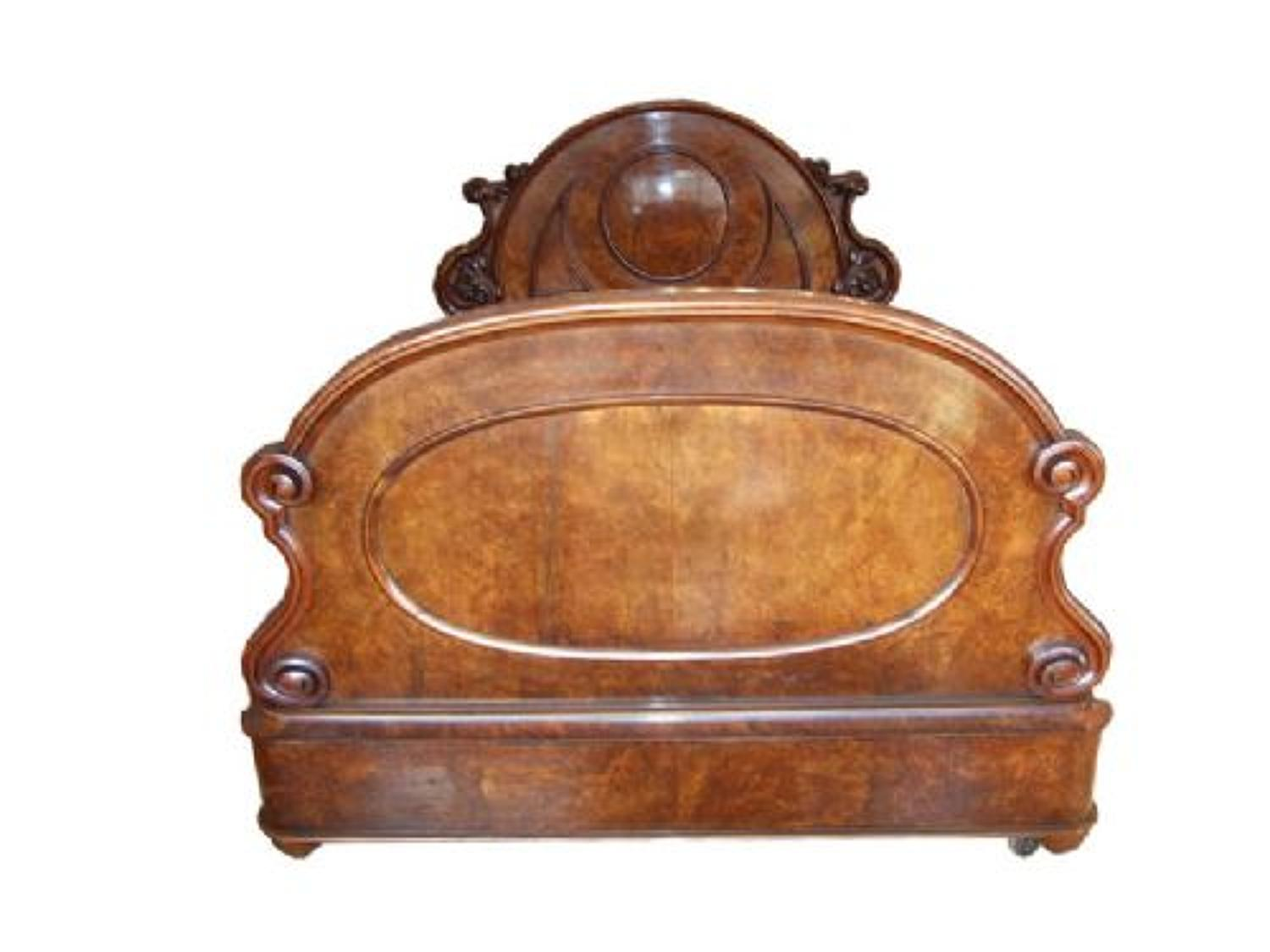 A Victorian walnut double bed