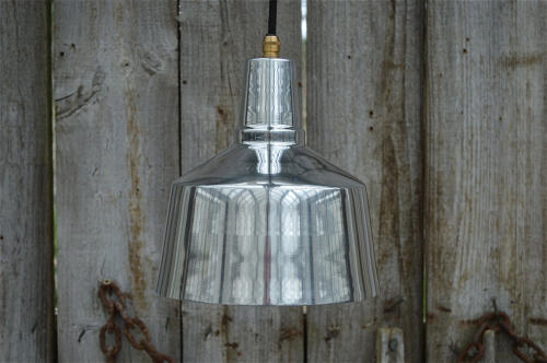 Retro styled Modernist hanging light made from polished aluminium