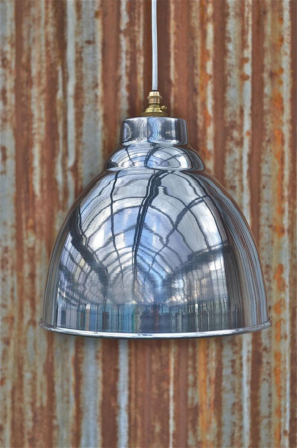 Industrial polished metal ceiling light shade hanging pendant lamp