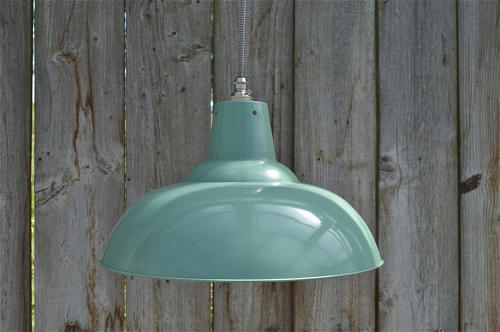 Large French green/grey hanging light pendant shade ceiling lamp