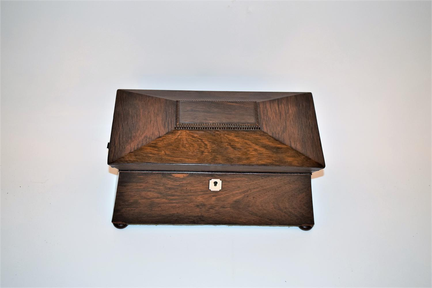 A William iv tea caddy with fully fitted interior.