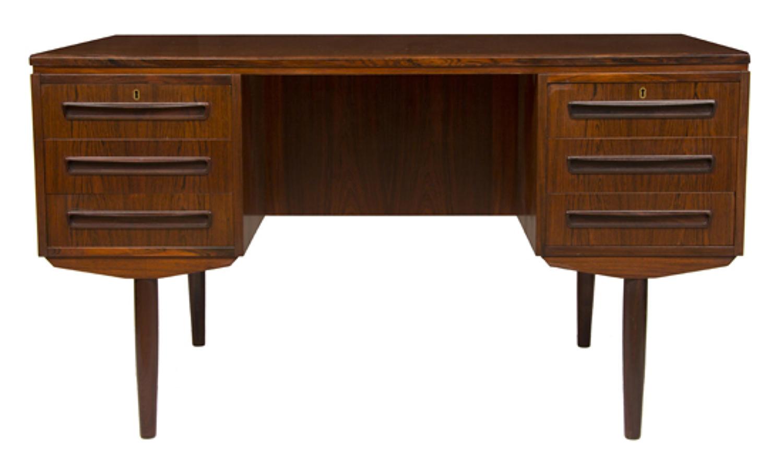 An exotic timber Danish midcentury designer desk