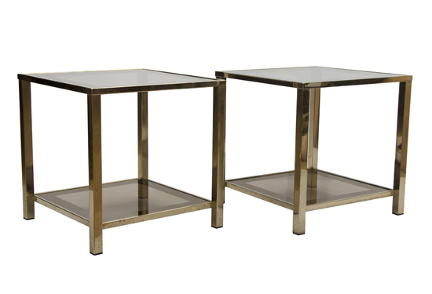 Pair of Gold Plated Side Tables by Belgo Chrom c.1975