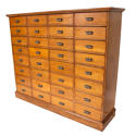 Vintage large bank of oak drawers - picture 2