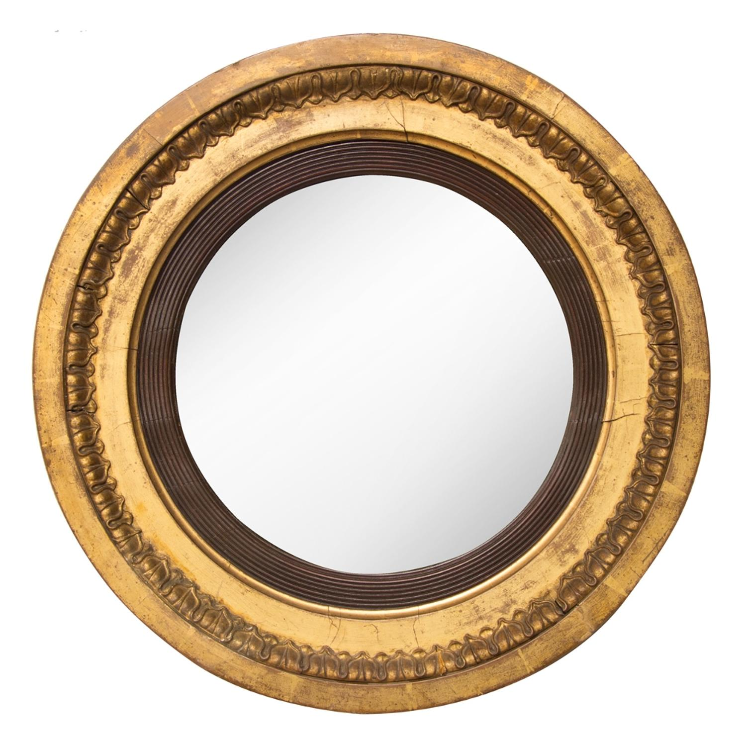Early Convex Mirror with Original Mercury Plate Glass c.1800