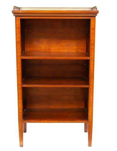 Small Mahogany Galleried Open Bookcase with Satinwood Inlay