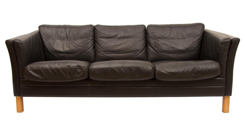 3 Seater Black Leather Sofa by Mogens Hansen c.1970's