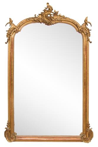 A large French crested overmantle mirror.
