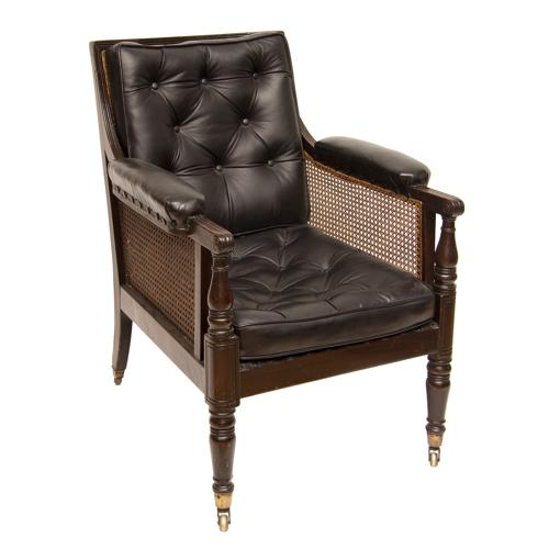 A Bergere Cane Armchair with Leather Back & Cushion c.1840