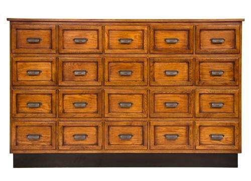 An oak vintage haberdashers bank of drawers