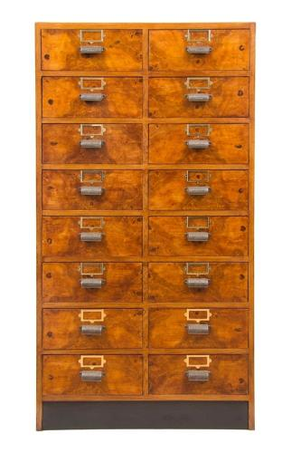 A Burr walnut vintage bank of drawers