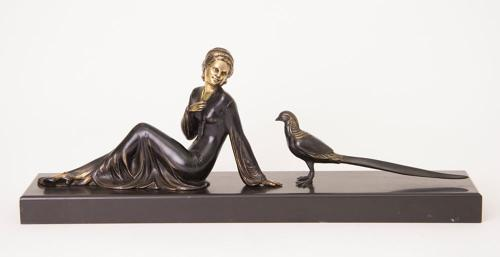 Uriano Art Deco Girl with Pheasant