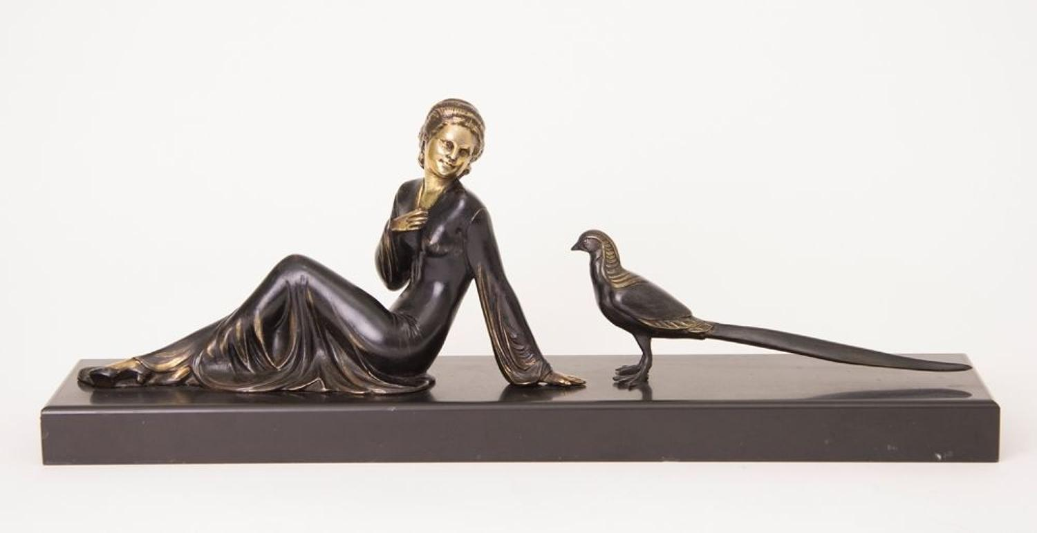 Uriano Art Deco Girl with Pheasant