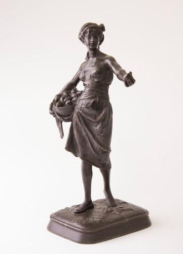 Antique French Signed Bronze Fruit Seller