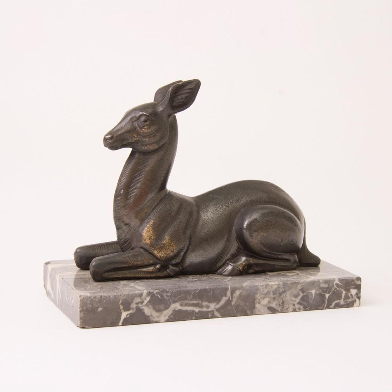 Art Deco Deer on Marble Stand