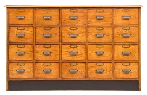 Vintage Style Oak Haberdashers Bank of Drawers