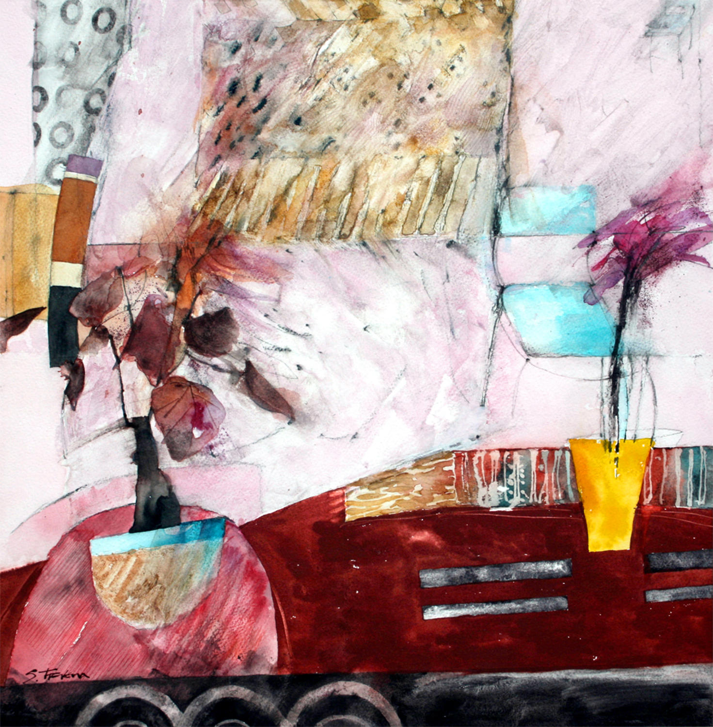 Shirley Trevena. Two plants and two carpets.