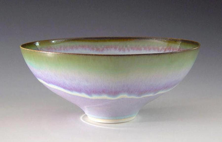 Peter Sparrey. Porcelain Bowl with rutile glaze.