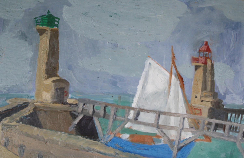 Nick Bush. Boat entering Fecamp harbour.