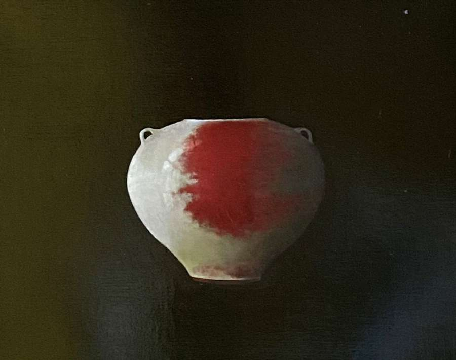 Judith Kuehne. Handled Chun glazed Jar, red Copper splashed'