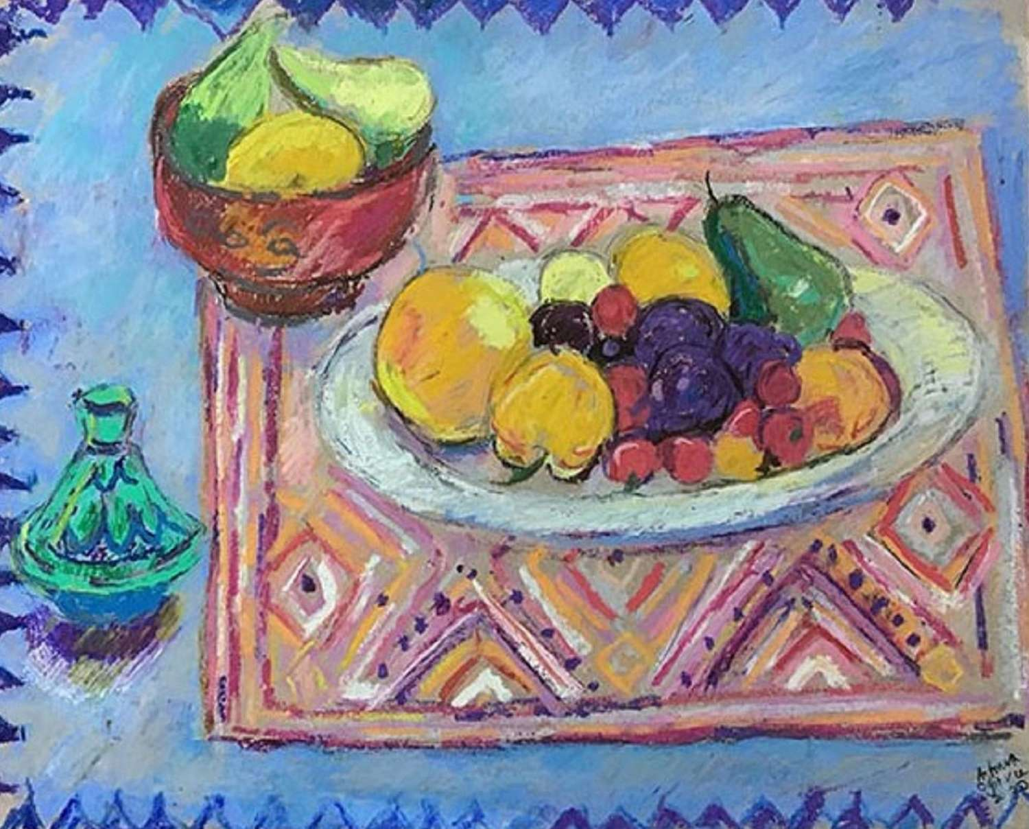 Antonia Ogilvie-Forbes. Fruit on patterned textiles.