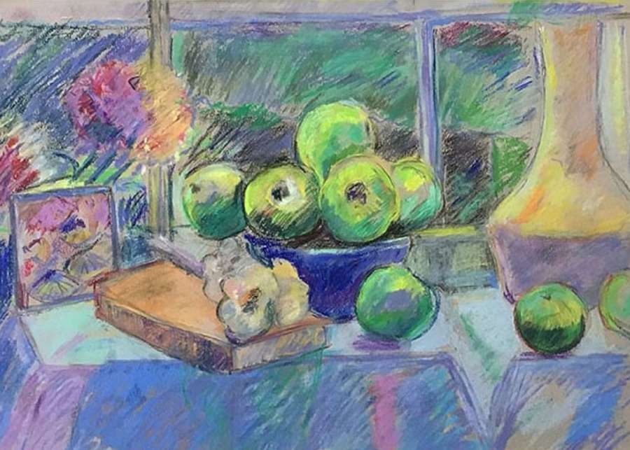 Antonia Ogilvie-Forbes. Green apples and blue Bowl.